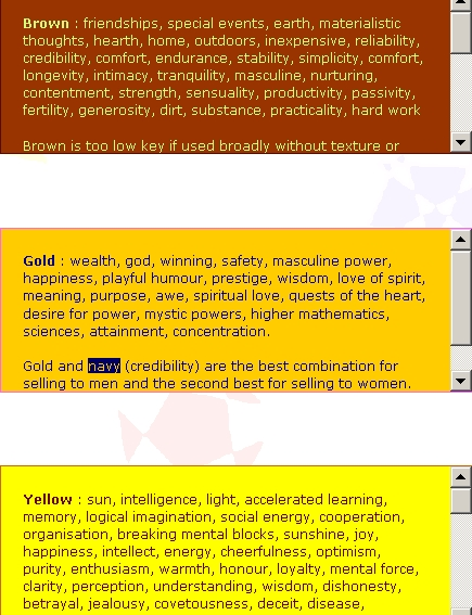 What colours and combinations of colours stimulate people to be interested in different things? What colours make us feel pleasure or disapproval ...